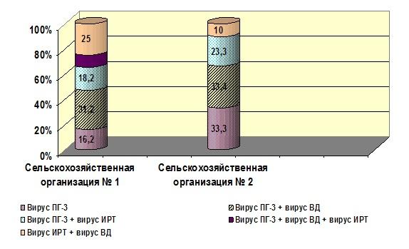 Рис. 4. Долевое распределение возбудителей ОРВИ в популяциях молодняка крупного рогатого скота при заболеваниях респираторного тракта
